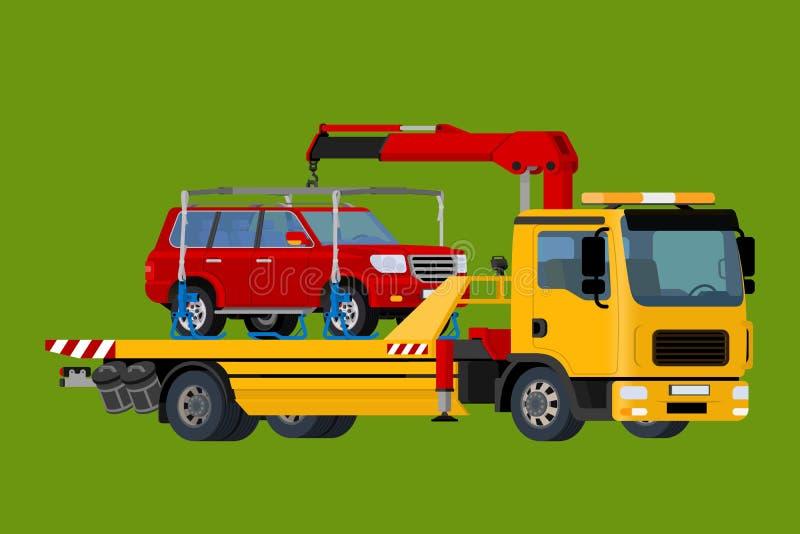 Bil som direktanslutet bogserar lastbilen, evacuatoren, vägrenhjälp, affär och servicebegreppet, isometrisk plan vektor 3d vektor illustrationer