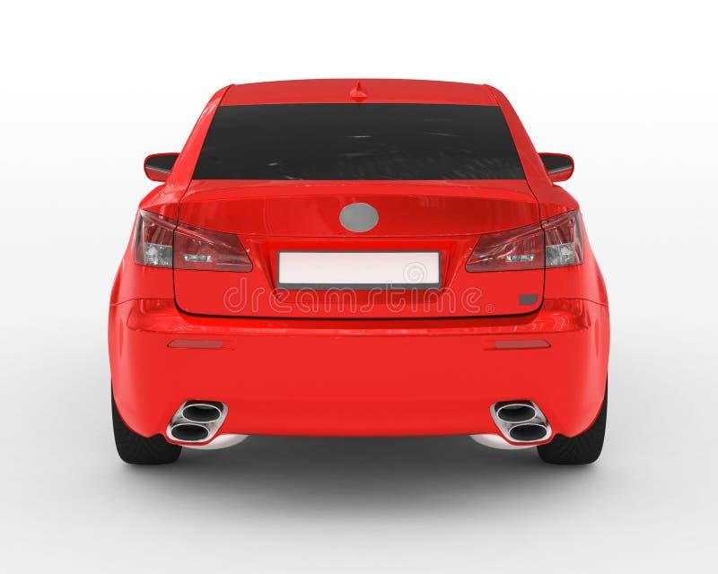 Bil som isoleras på vit - röd målarfärg, tonat exponeringsglas - tillbaka sikt arkivfoto