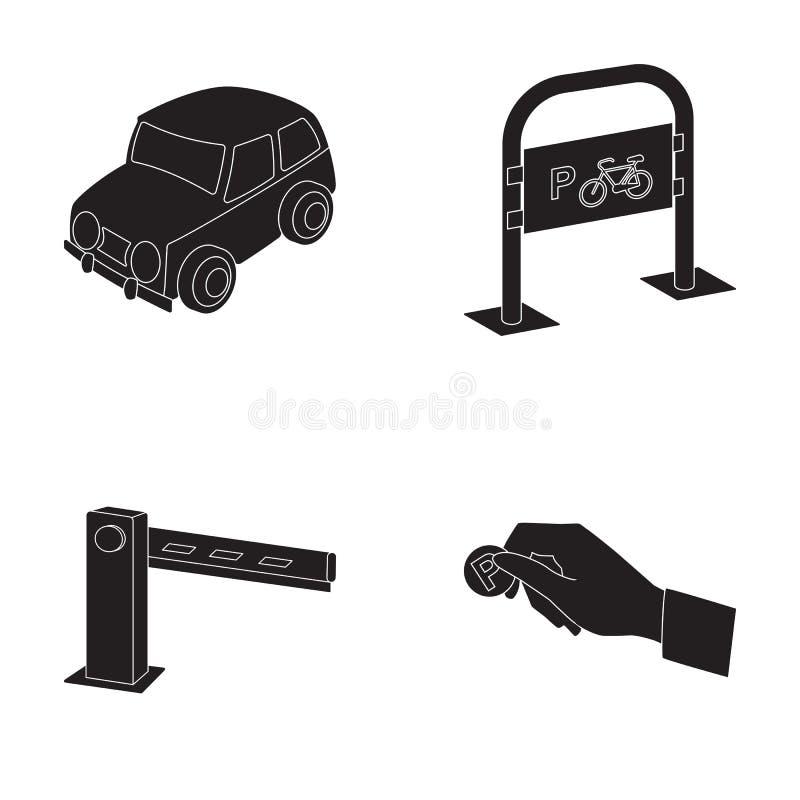 Bil som parkerar barriären, cykelp, mynt i handen för betalning Symboler för samling för uppsättning för parkeringszon i svart st stock illustrationer