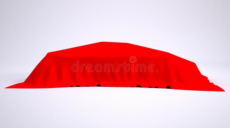 Bil som täckas med den röda torkduken royaltyfri illustrationer