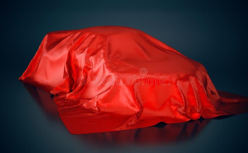 Bil som täckas med den röda torkduken illustration 3d vektor illustrationer