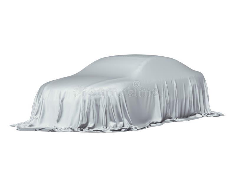 Bil som täckas med en grå torkduk stock illustrationer