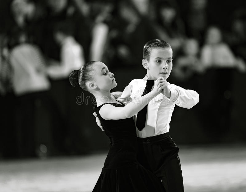 Bila Tserkva, Ukraine. February 22, 2013 International open dance sport competition Stars of Ukraine 2013. Happy young dancing pa royalty free stock images