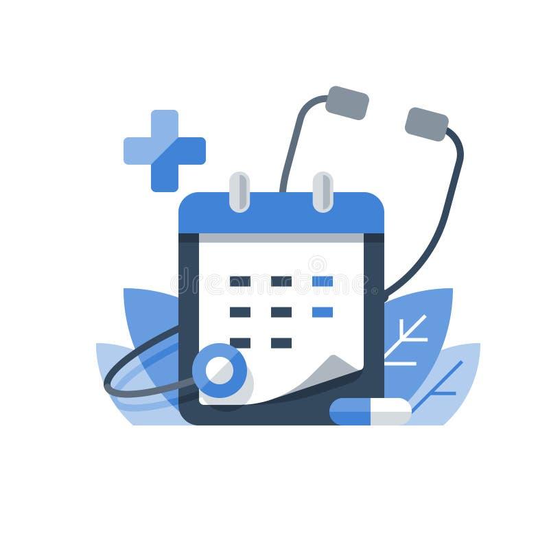 Bilan de santé régulier, examen médical annuel, cours de médicaments, calendrier et stéthoscope, rendez-vous à l'examen préventif illustration stock