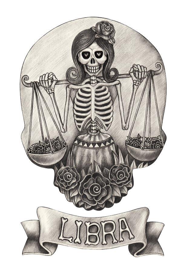 Bilancia del cranio dello zodiaco Disegno della mano sul documento illustrazione vettoriale