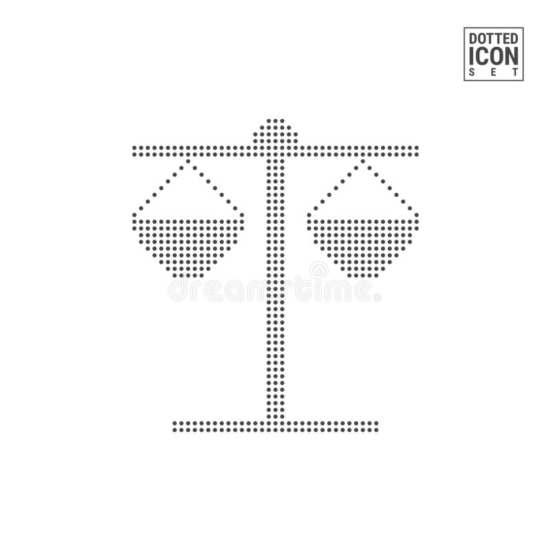 Bilancia della giustizia Dot Pattern Icon Avvocato, avvocato Dotted Icon Isolated su bianco Modello del fondo o di progettazione  illustrazione vettoriale