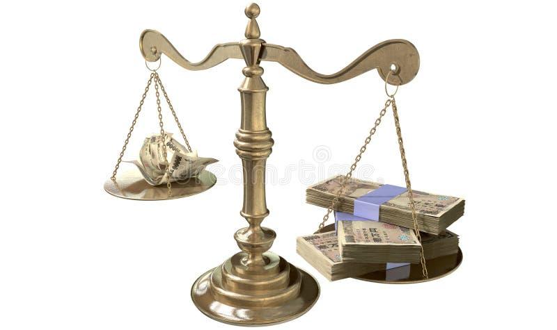 Bilancia della giustizia Income Gap Japan di diseguaglianza illustrazione vettoriale