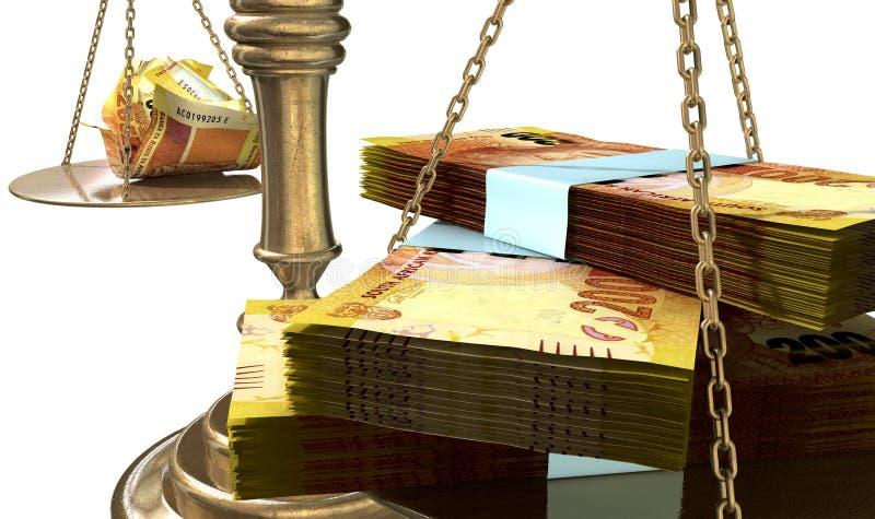 Bilancia della giustizia Income Gap South Africa di diseguaglianza illustrazione di stock