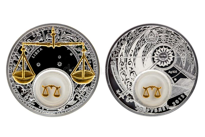 Bilancia di astrologia della moneta d'argento della Bielorussia fotografie stock