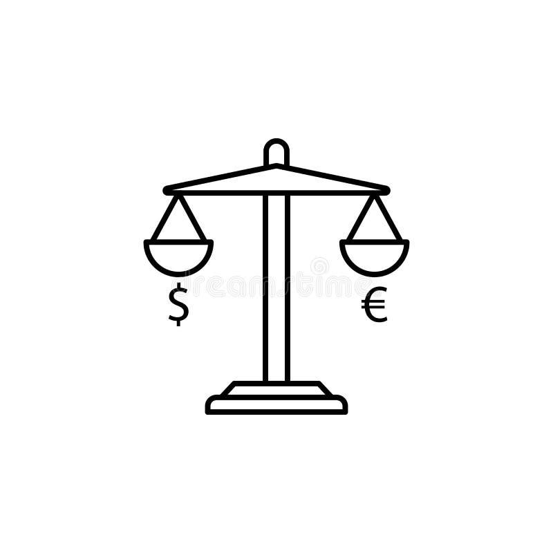 Bilancia, dollaro, euro icona Elemento dell'illustrazione di finanza I segni e l'icona di simboli possono essere usati per il web illustrazione vettoriale