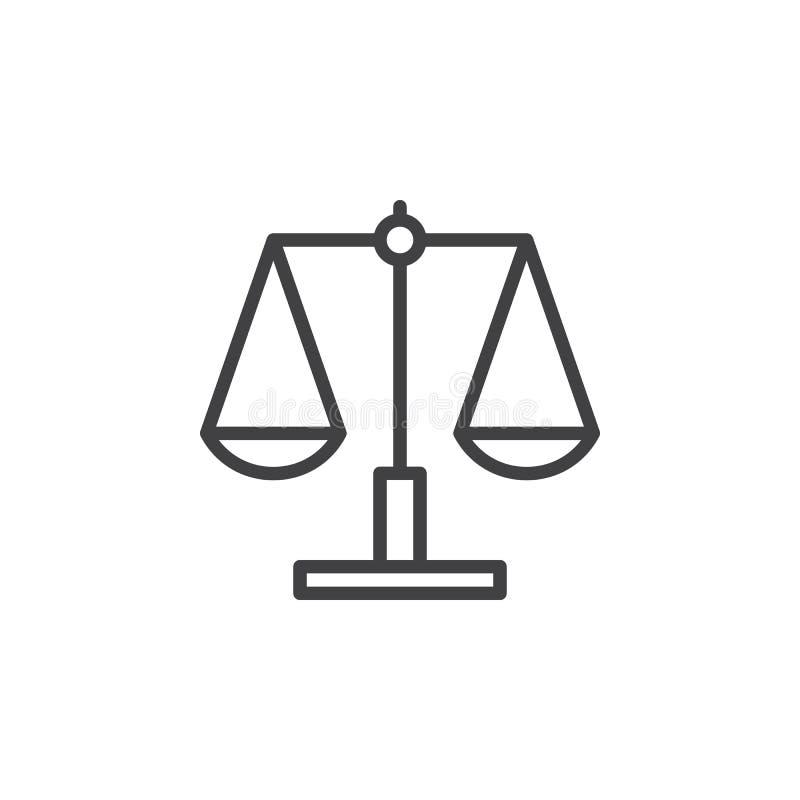 Bilancia, icona del righello, segno di vettore del profilo illustrazione vettoriale