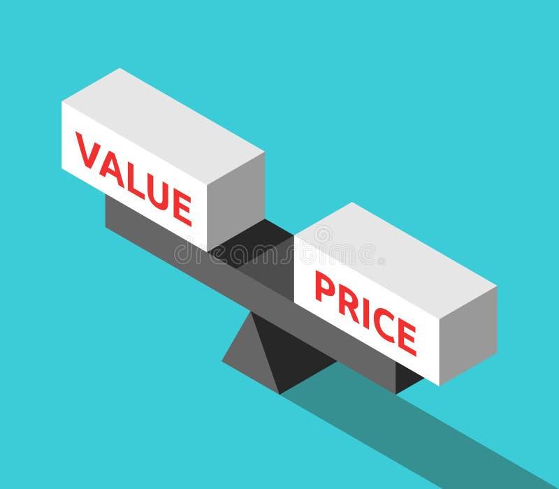 Bilancia isometrica del movimento alternato con i blocchi di parole di prezzi e di valore sul fondo del blu di turchese Concetto  illustrazione di stock