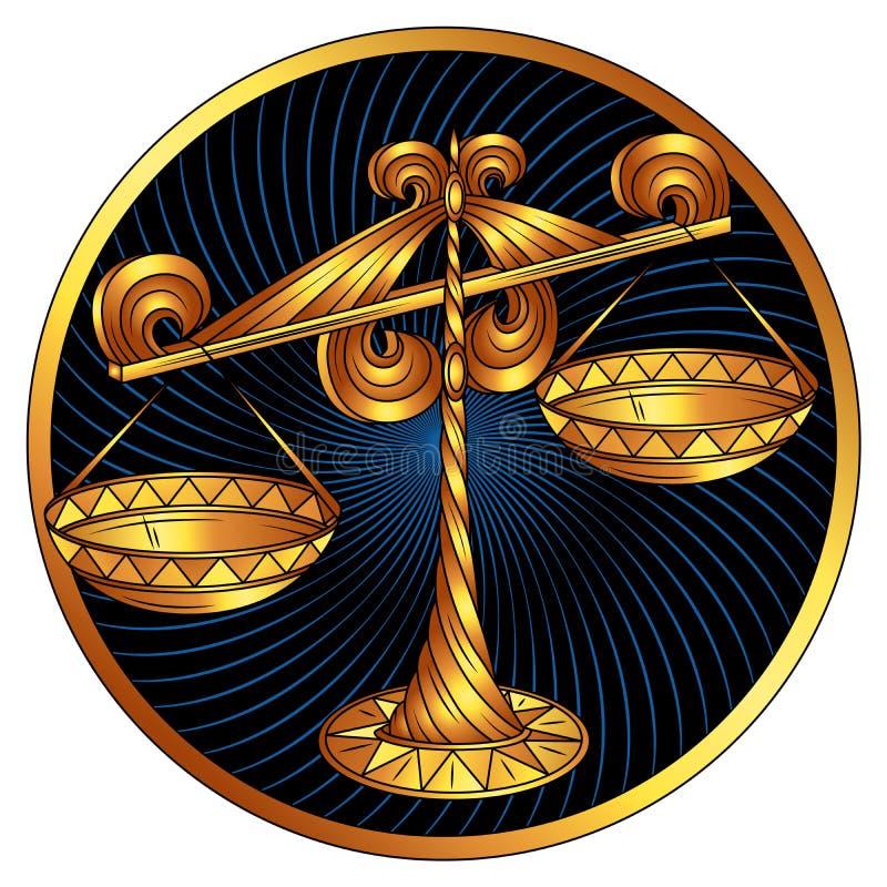 Bilancia, segno dorato dello zodiaco, simbolo dell'oroscopo di vettore fotografia stock