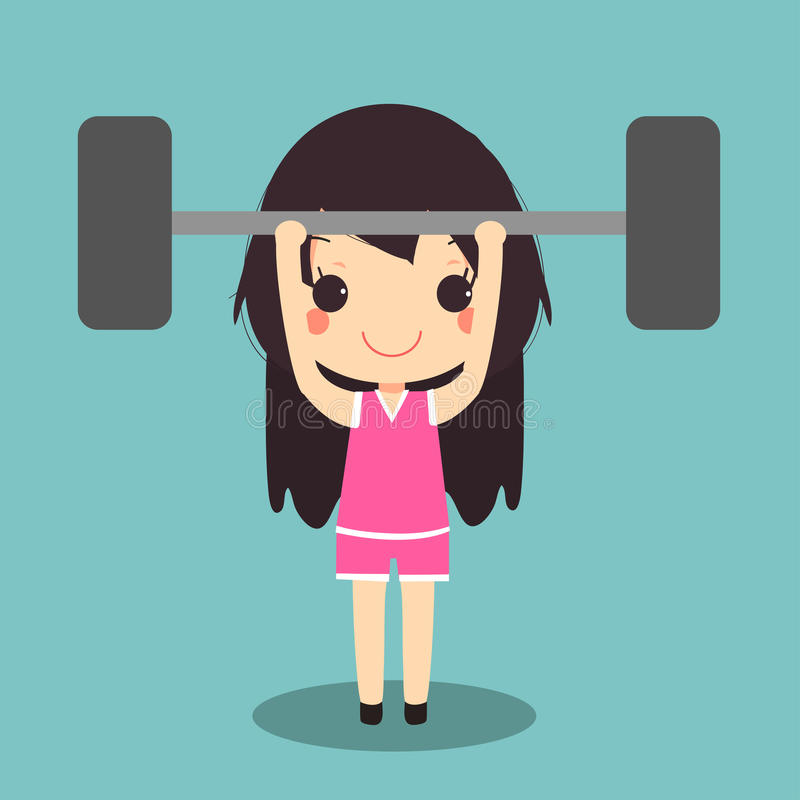 Bilanciere sano di sollevamento pesi di esercizio della donna illustrazione di stock