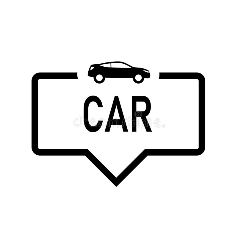 Bilanförandebubbla med symbolen som isoleras Plan design p? vit bakgrund vektor illustrationer