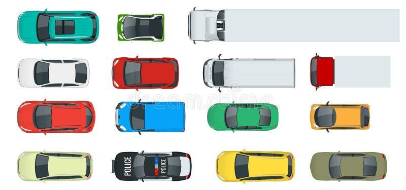 Bilar beskådar från ovannämnd uppsättning Medelkörning i staden och den tjänste- transporten Illustration för vektorlägenhetstil  royaltyfri illustrationer