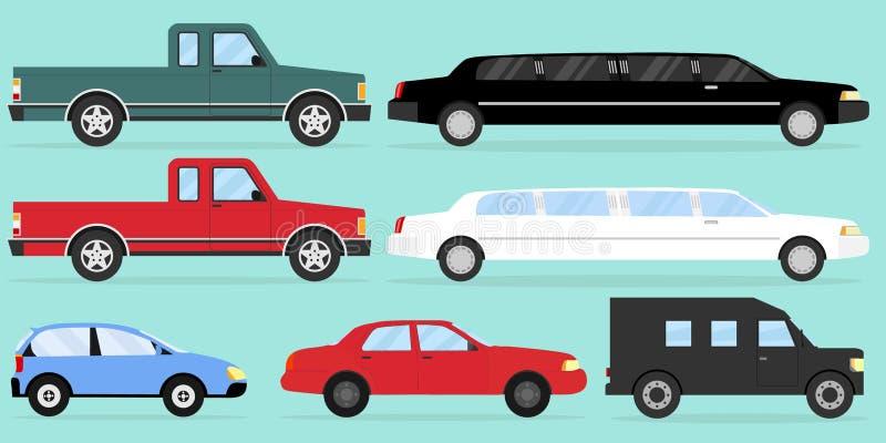 bilar En stor uppsättning av bilar på ett ljus - grön bakgrund med en skugga vektor illustrationer