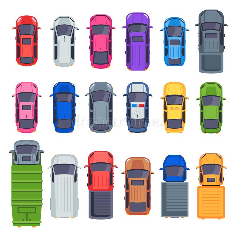 Bilar f?r b?sta sikt Automatisktransport, lastbil och biltak Uppsättning för illustration för vektor för stadstrafik plan isolera stock illustrationer