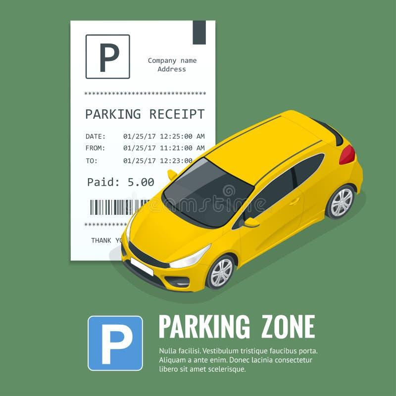 Bilar i parkeringsplatsen och parkeringsbiljetterna Offentlig parkeringshus royaltyfri illustrationer