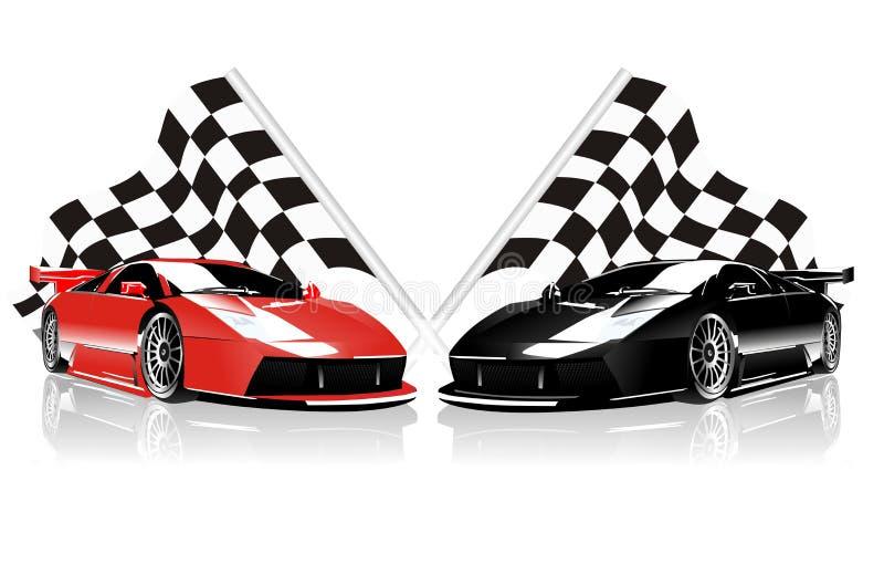 Bilar och flaggor för vektor två tävlings- stock illustrationer