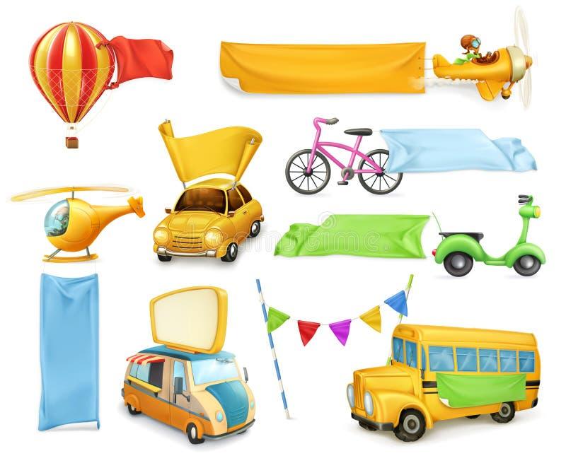 Bilar och flygplan med baner och flaggor royaltyfri illustrationer
