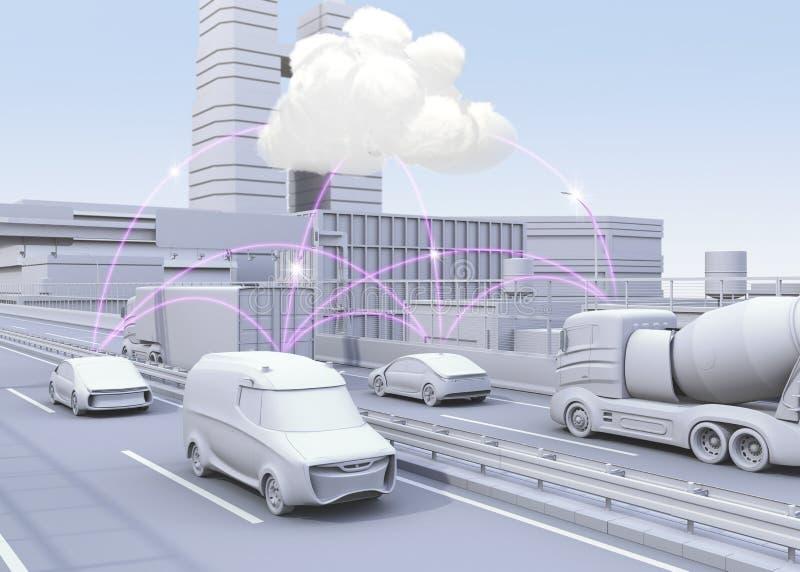 Bilar på motorwayen som delar information om trafik vid datornätet Begrepp för förbindelsebil stock illustrationer