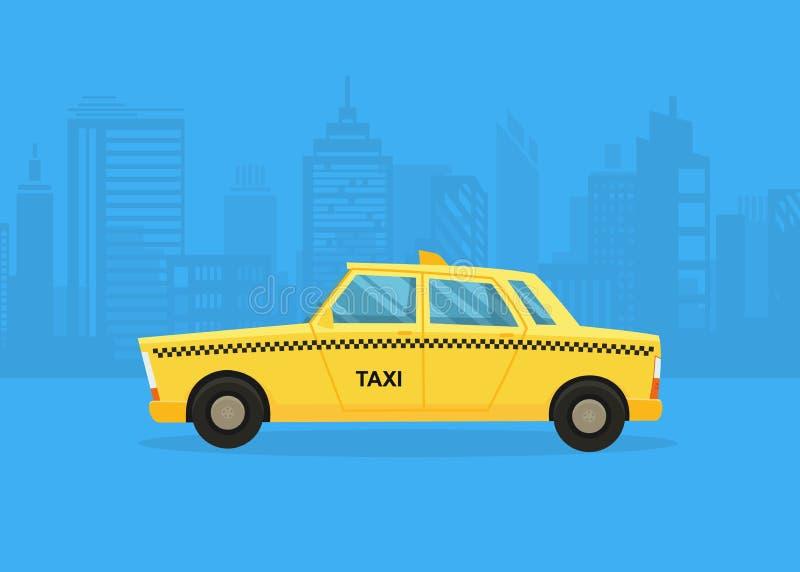 Bilar p? stadspanoraman Taxiservice caben taxar yellow Taxiapplikation, stadskontur med skyskrapor och torn stock illustrationer