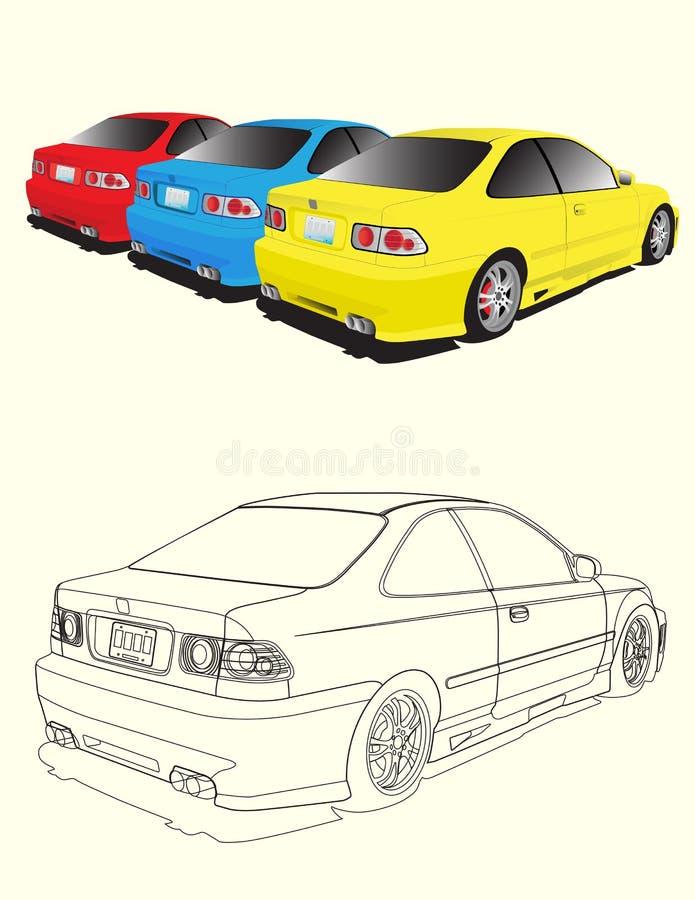 bilar tre stock illustrationer