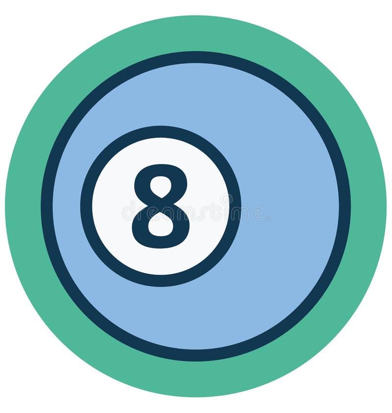 Bilardowa piłka, liczy osiem Odizolowywającą Wektorową ikonę która może łatwo redagować lub Modyfikować ilustracji