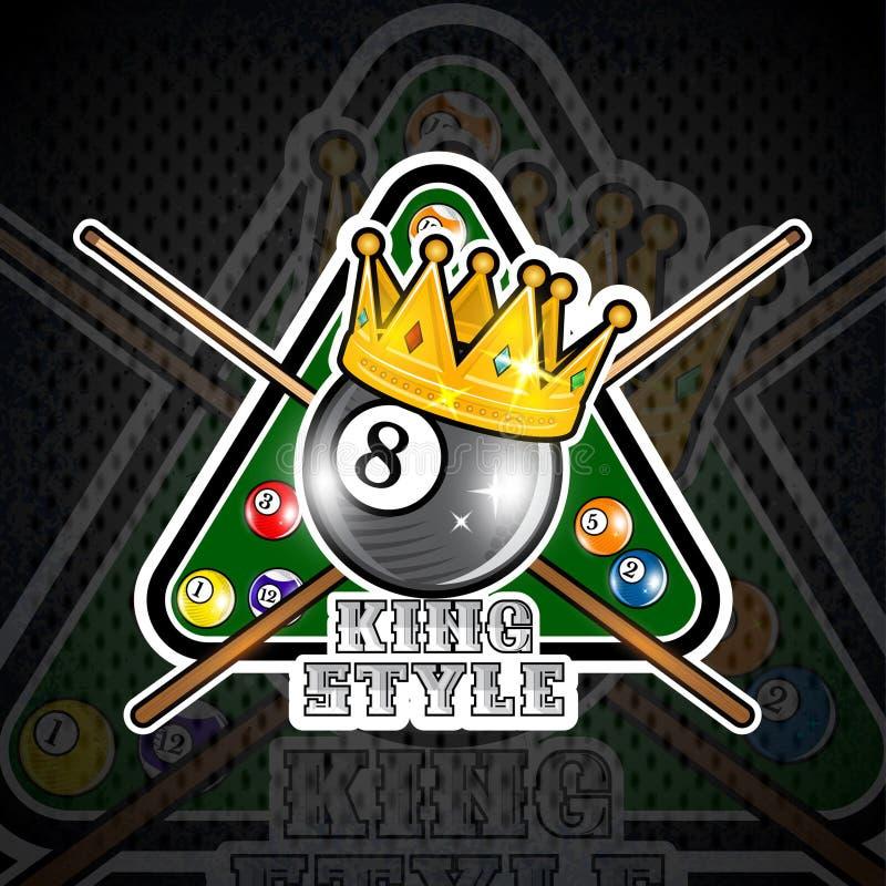 Bilardowa piłka z koroną i pyramyd gren stół z krzyżować wskazówkami Sporta logo dla jakaś drużyny royalty ilustracja