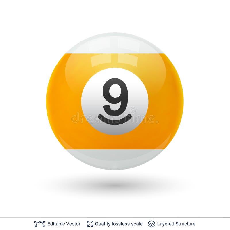 Bilardowa snookeru basenu piłka z liczbą ilustracja wektor