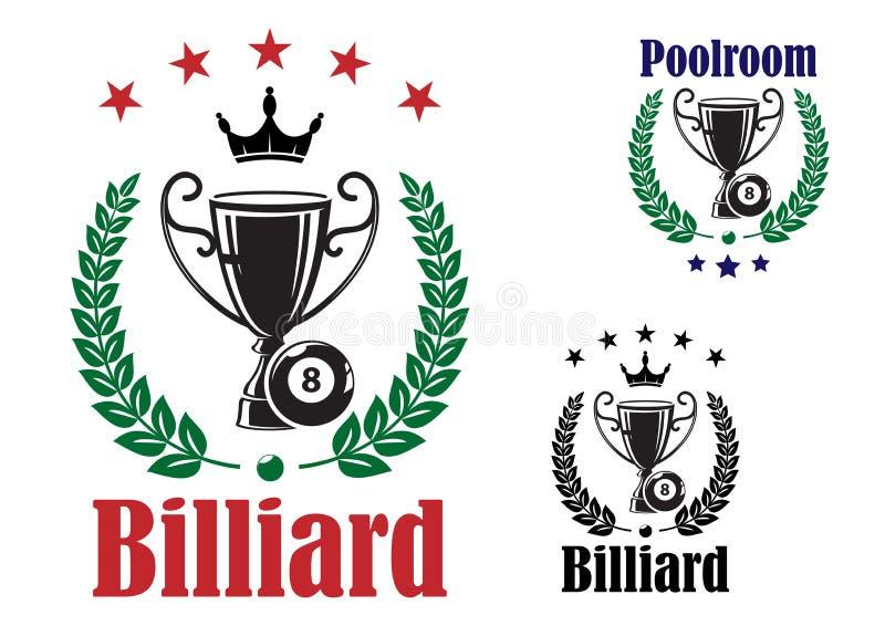 Bilardowa trofeum filiżanka royalty ilustracja