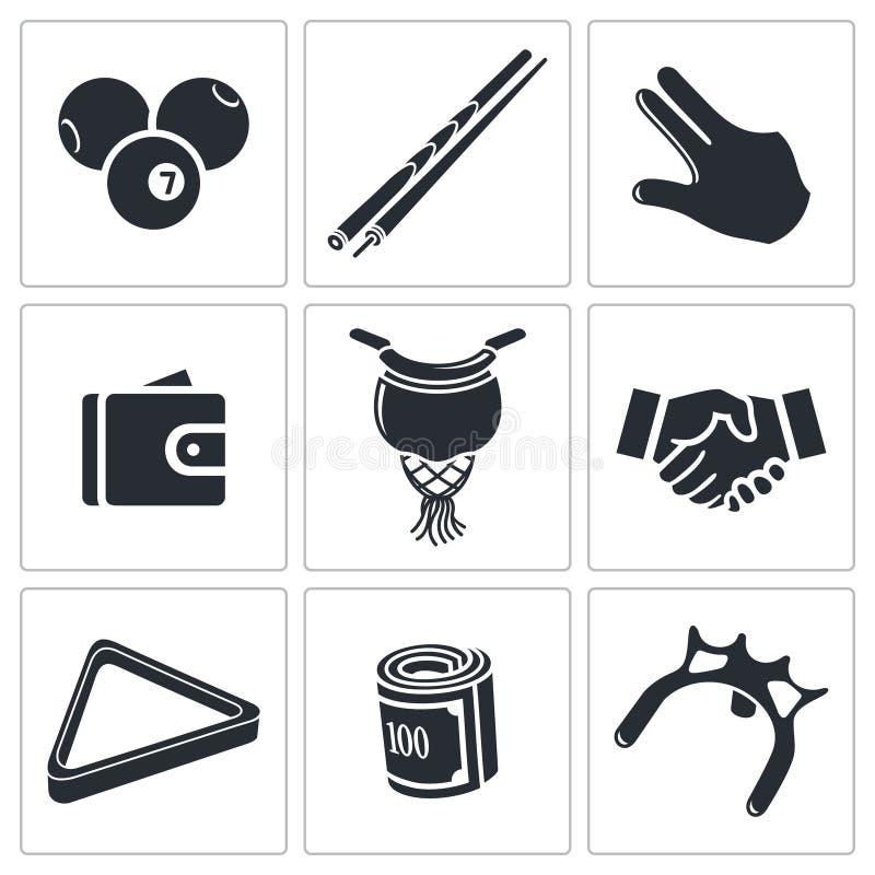 Bilardowe ikony ustawiać royalty ilustracja
