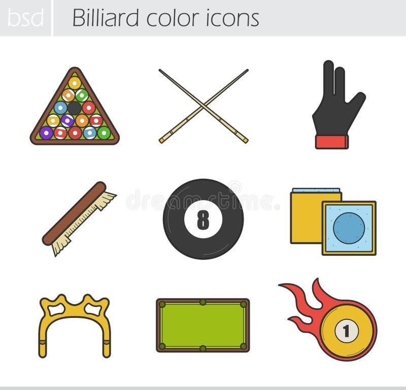 Bilardowe kolor ikony ustawiać ilustracji
