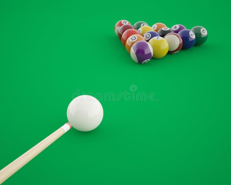 Bilardowe piłki przed uderzać na zieleni bilardowej ilustracji