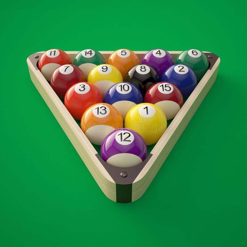 bilardowe piłki w trójboku ilustracji