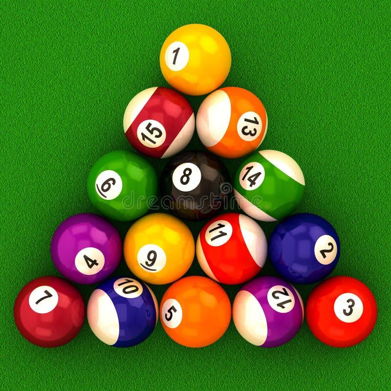 Bilardowe piłki z liczbami ilustracji