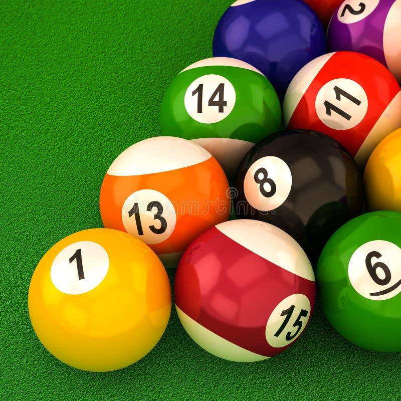 Bilardowe piłki z liczbami royalty ilustracja