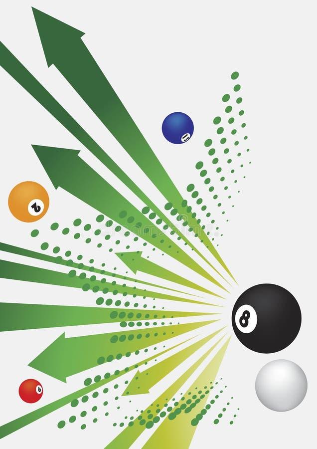 Bilardowe zielone strzała i piłki Abstrakcjonistyczny bilardowy tło royalty ilustracja