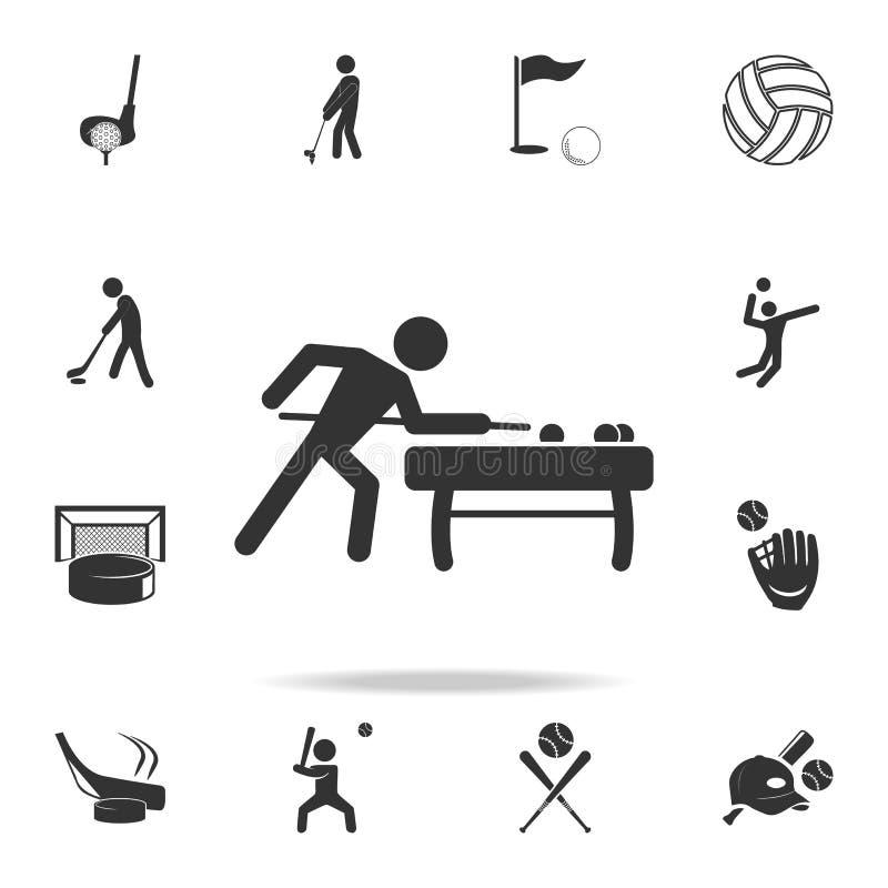 bilardowego gracza ikona Szczegółowy set atlet i akcesoriów ikony Premii ilości graficzny projekt Jeden inkasowe ikony ilustracja wektor