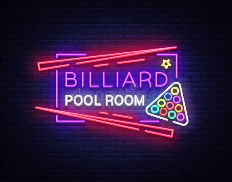 Bilardowy świetlicowy neonowy znak Bilardowego basenu pokoju projekta szablonu Jaskrawy neonowy emblemat, logo dla Bilardowego kl ilustracji