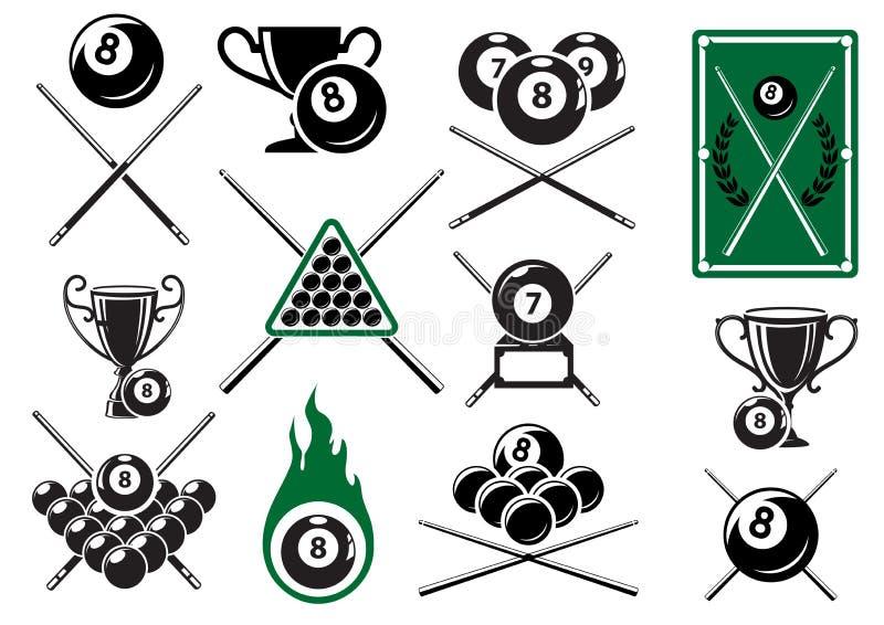 Bilardowy, basenie i snookerów sportów emblemacie, ilustracji