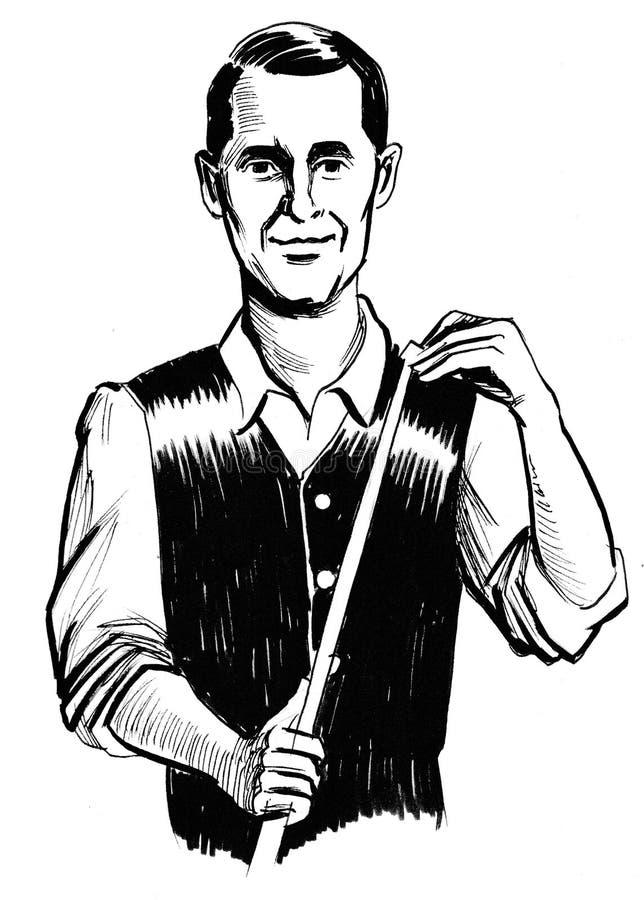 Bilardowy gracz ilustracja wektor