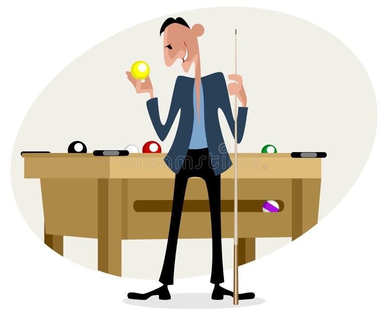 Bilardowy gracz z wskazówką ilustracja wektor