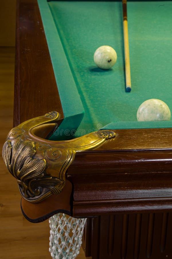 Bilardowy stół, dziura, piłki, wskazówka zdjęcie stock