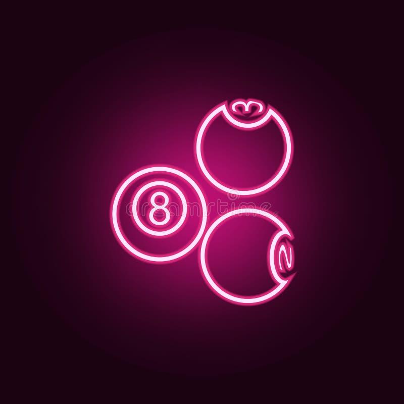 bilardowych pi?ek neonowa ikona Elementy sie? set Prosta ikona dla stron internetowych, sie? projekt, mobilny app, ewidencyjne gr ilustracja wektor