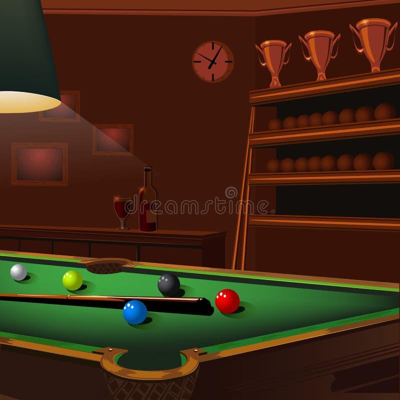 Bilardowych piłek skład na zielonym basenu stole ilustracji