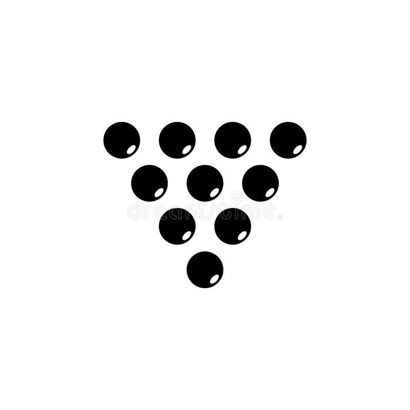 Bilardowych piłek trójboka Płaska Wektorowa ikona royalty ilustracja