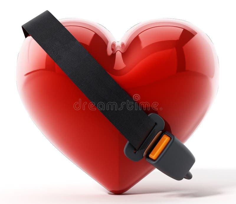 Bilbälte runt om den röda hjärtan illustration 3d vektor illustrationer