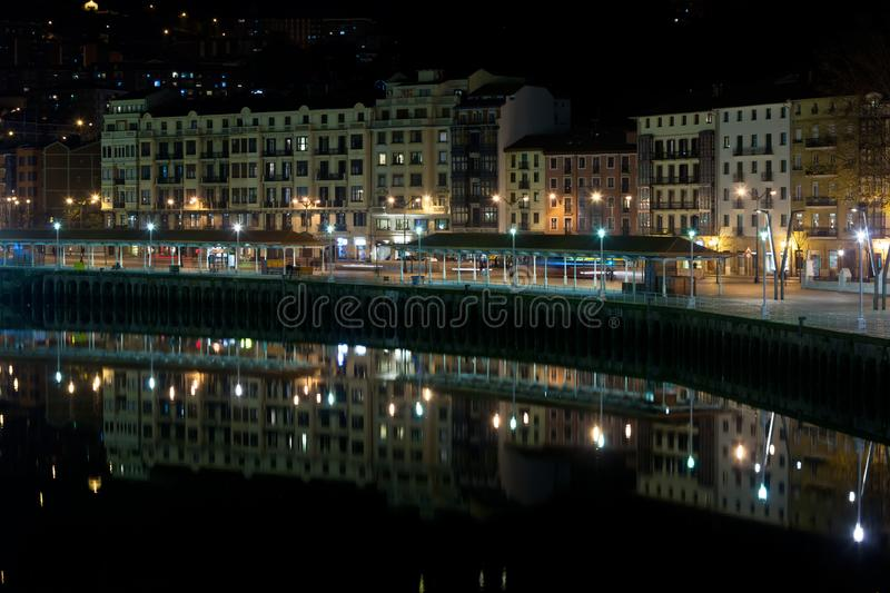 Bilbao, Basque Country, Spain cityscape at night royalty free stock image